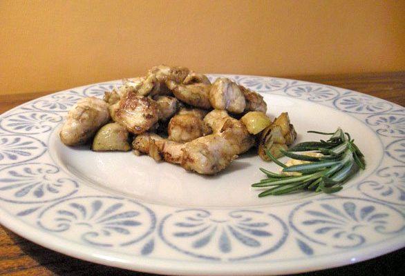 Ricette secondi: bocconcini di petto di pollo e castagne secche