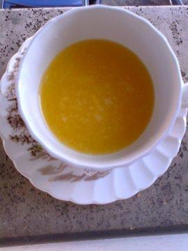 Primi: Zuppa di zucca e arance.