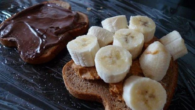 Sandwich dolci con banane, nutella e burro di arachidi: una merenda americana