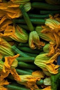 Parmigiana di zucchine in bianco, con alici fresche e fiori di zucca