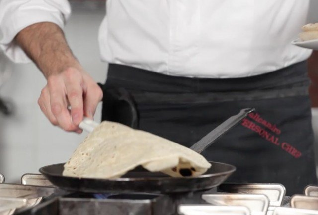 La piadina in cottura