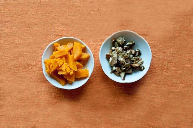 Ingredienti per il risotto zucca e porcini