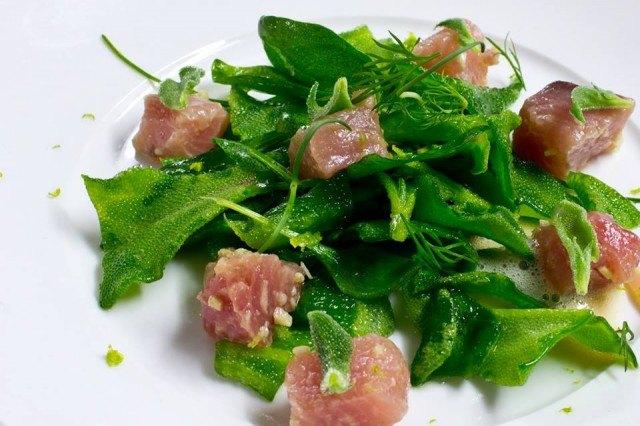 Insalata di erbe e alghe con contorno di palamita