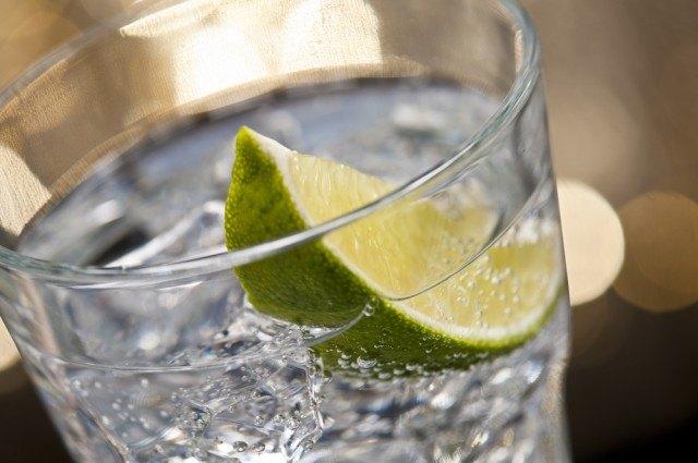 Uno shot di gin con una fetta di lime