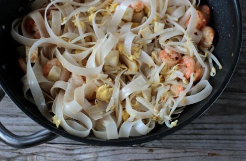 Le tagliatelle di riso nel pad thai