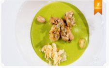 Cappuccino di rane e piselli, schiuma di zenzero e lemongrass, la ricetta di Philippe Léveillé
