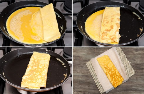 La preparazione della frittata per il nigiri
