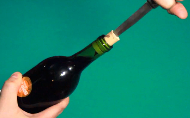 openbottle with knife