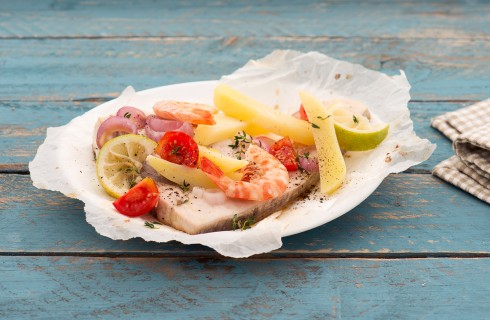 Pesce spada al cartoccio con patate