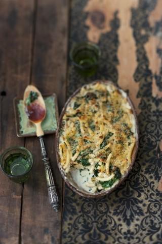 Pasta al forno con spinaci