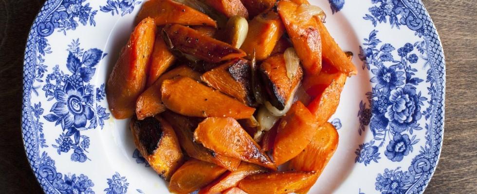 Carote e cipolle al forno