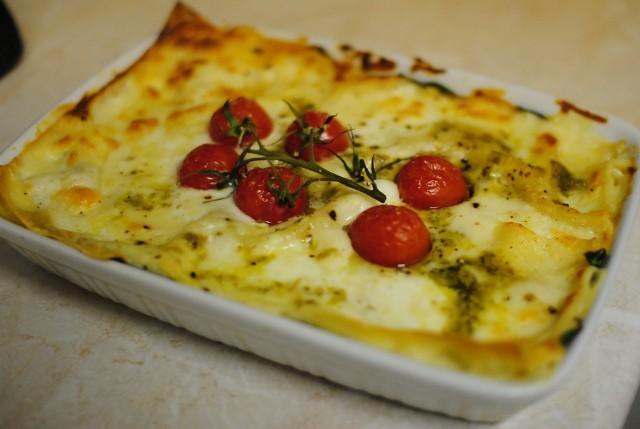 pesto e pomodorini lasagna