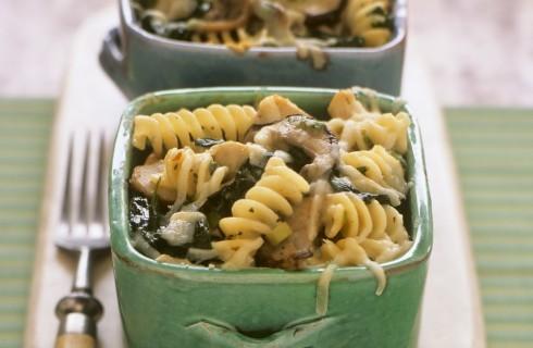 Pasta al forno funghi e spinaci
