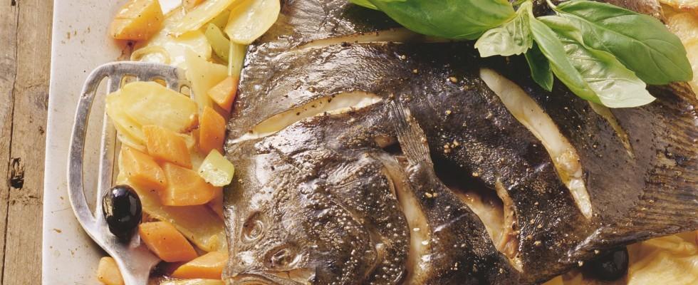 Rombo al forno con verdure