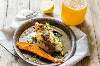 Pollo con verdure caramellate