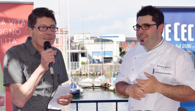 Luigi Cremona con Salvatore Bianco, chef del ristorante Il Comandante