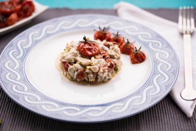 tartare di ombrina, pistacchi e pomodori-4