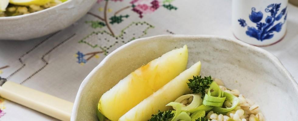 Insalata di grano porri e mele