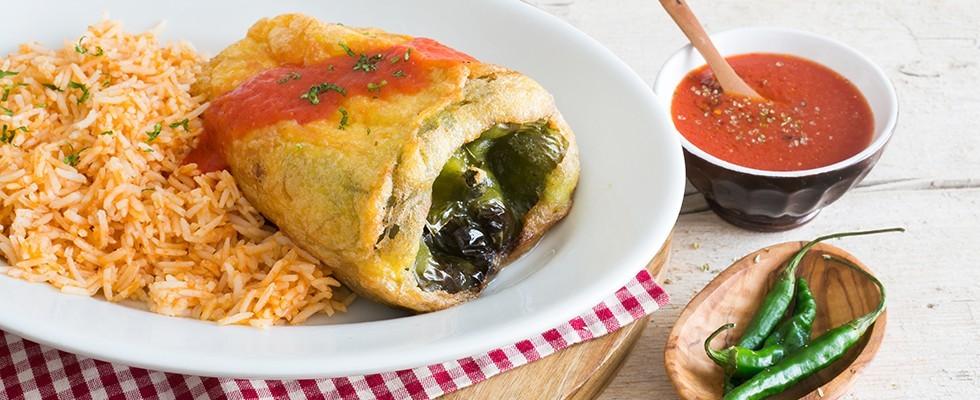 Chiles rellenos, variante vegetariana