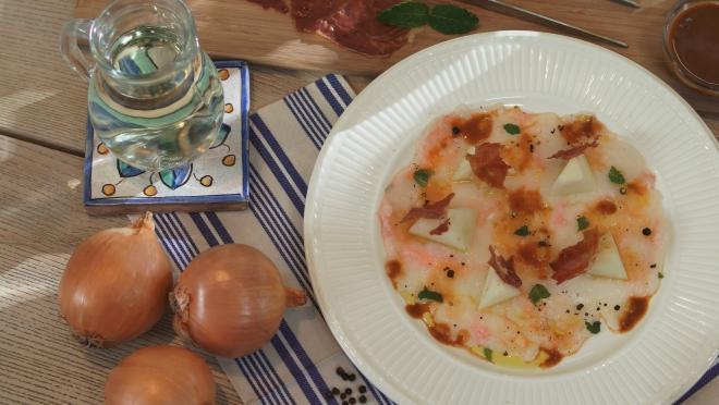 Scampi con prosciutto e melone: la ricetta sfiziosa di Andrea Mainardi