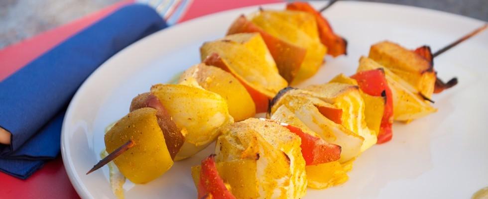 Paneer Kebab, spiedini vegetariani