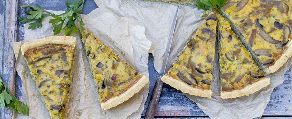 Torta salata con funghi misti