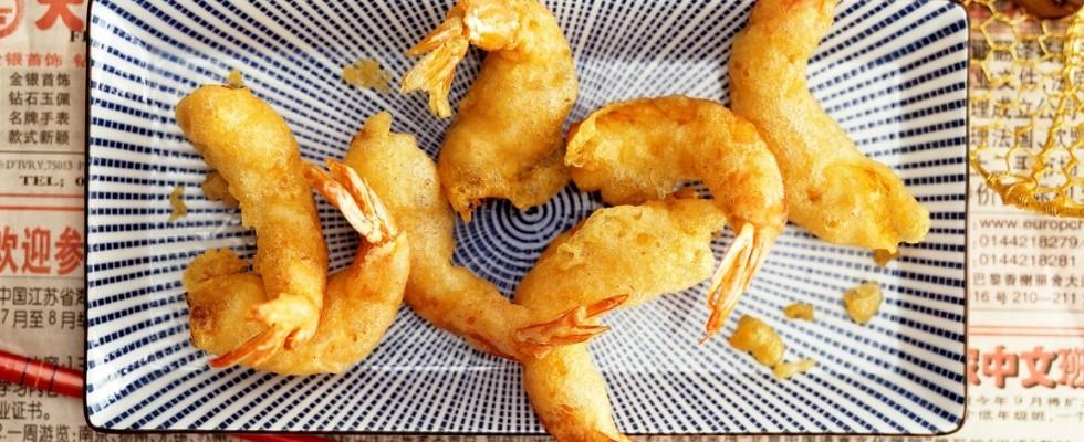 Gamberi in tempura, croccanti
