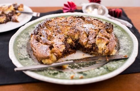 Torta con pandoro crema e nutella