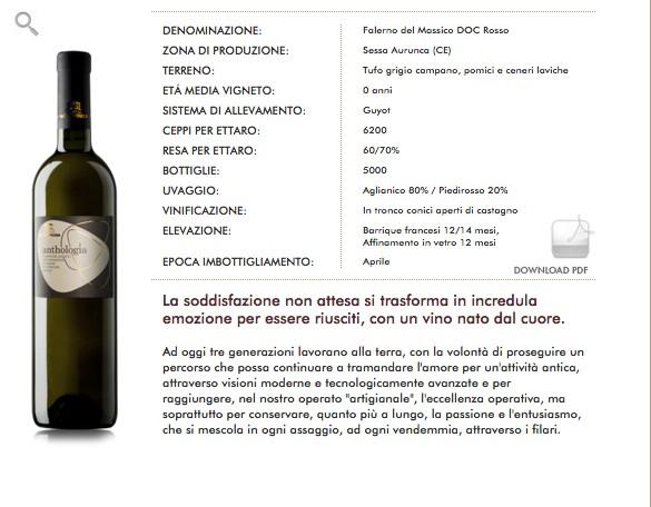 Falerno del Massico Bianco DOC Anthologia Masseria Felicia