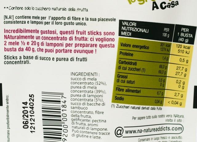 senza zucchero etichetta