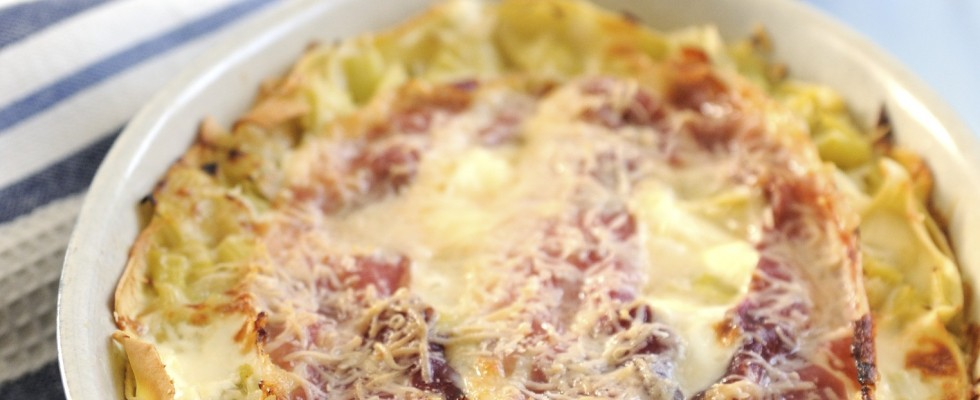 Lasagne porri e prosciutto: delicate
