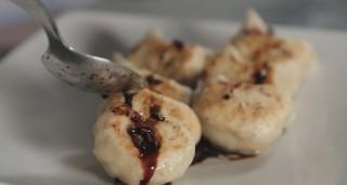 Ravioli alla piastra con maiale e gamberetti