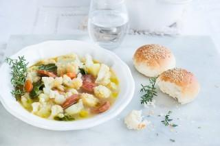 Zuppa di cavolfiore e chorizo