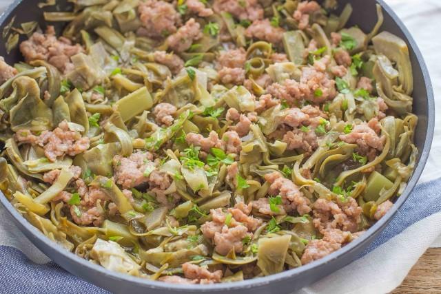 Step 4 pasta con carciofi e salsiccia