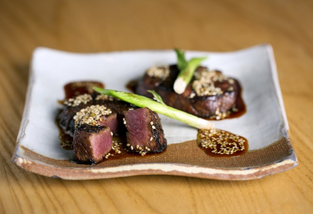 spicy beef tenderloin with sesame, red chilli and sweet soy - gyuhire sumibiyaki karami zuke-min