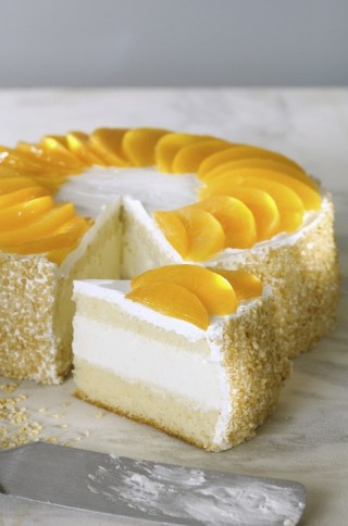 Torta crema e pesche