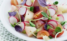 White peach,radish and cherry tomato salad