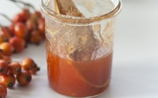 A jar of rosehip and apple jam
