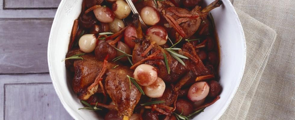 Coq au vin con verdure