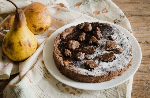 Crostata doppio cioccolato e pere caramellate