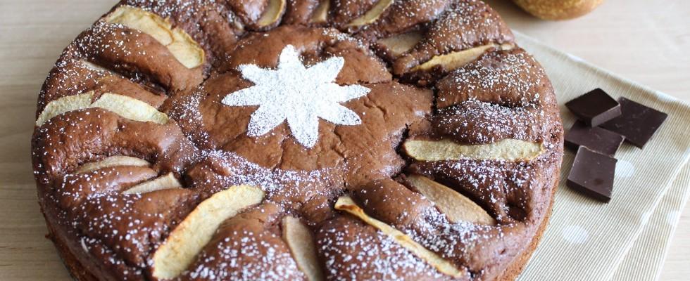 Torta pere e cioccolato, vegana