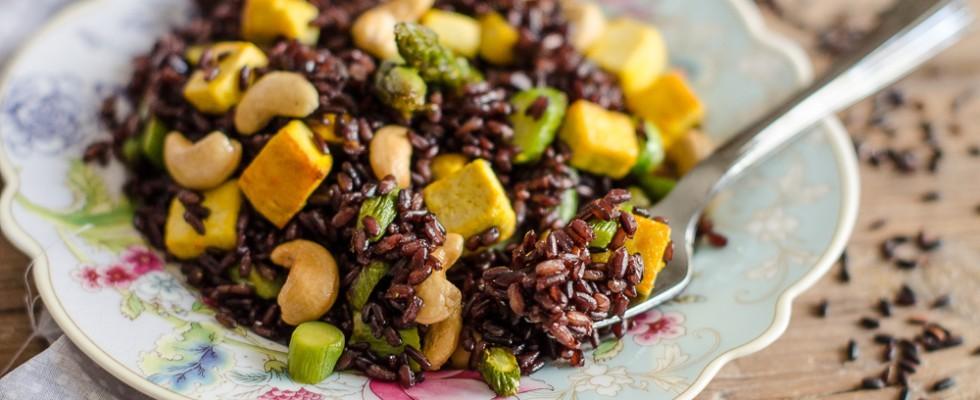 Popolare Ricetta Riso venere, asparagi e tofu | Agrodolce YH01