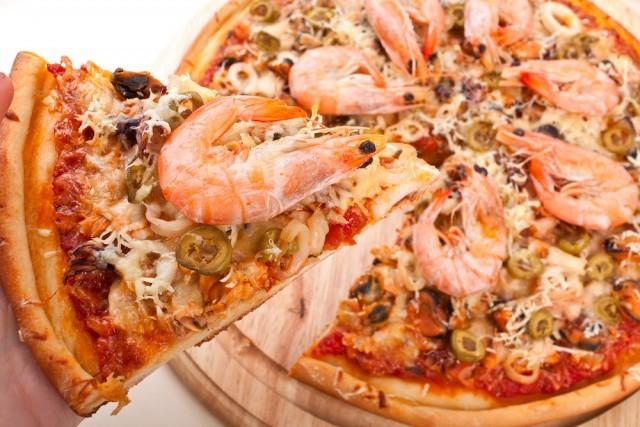pizza con i gamberi