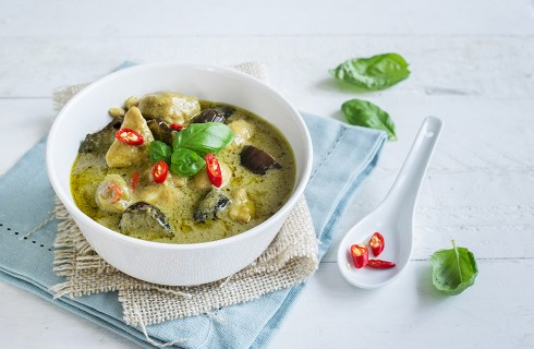 Curry verde con pollo, cucina thai