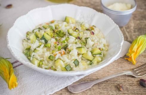 Risotto con zucchine e fiori di zucca