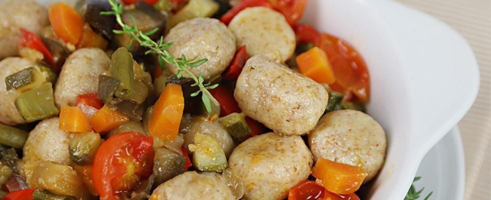 Gnocchi integrali con verdure di stagione