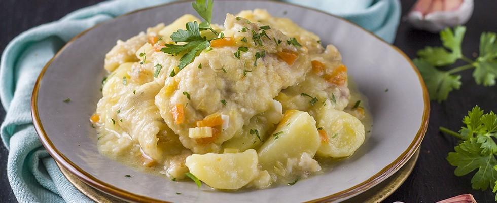 Spigola con patate in casseruola