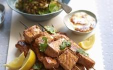 Tandoori salmon skewers