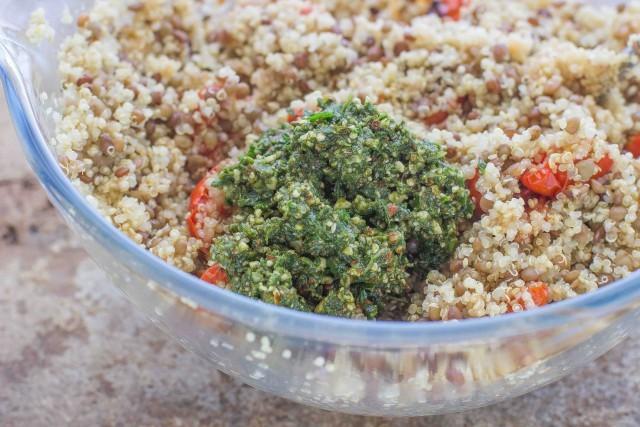 Step 4 insalata fredda di quinoa e lenticchie