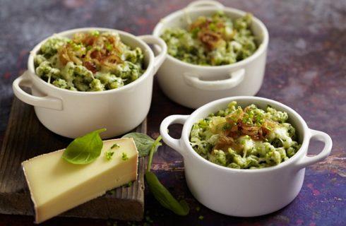 Spätzle agli spinaci con speck